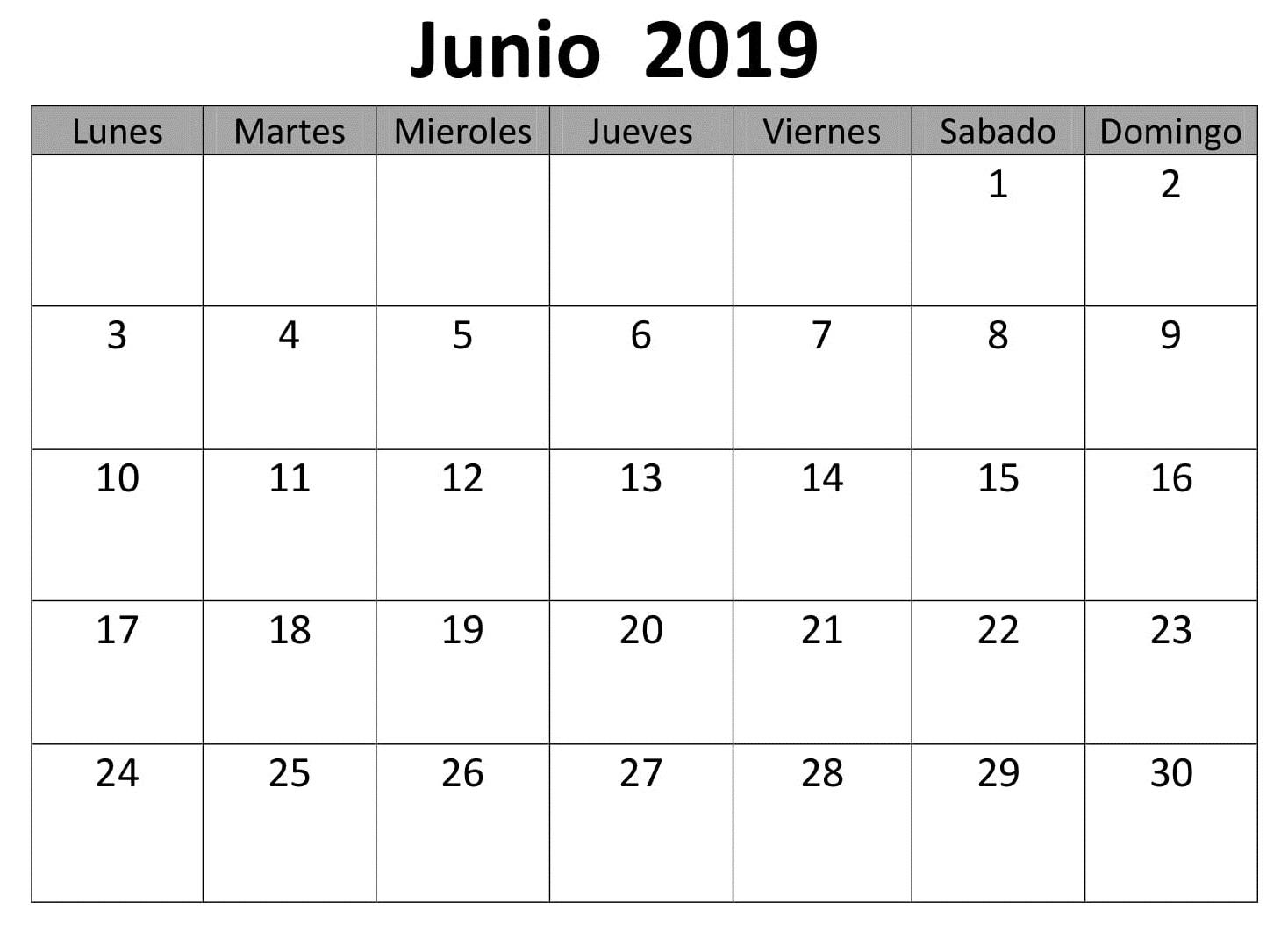 Junio Calendario Mensual 2019