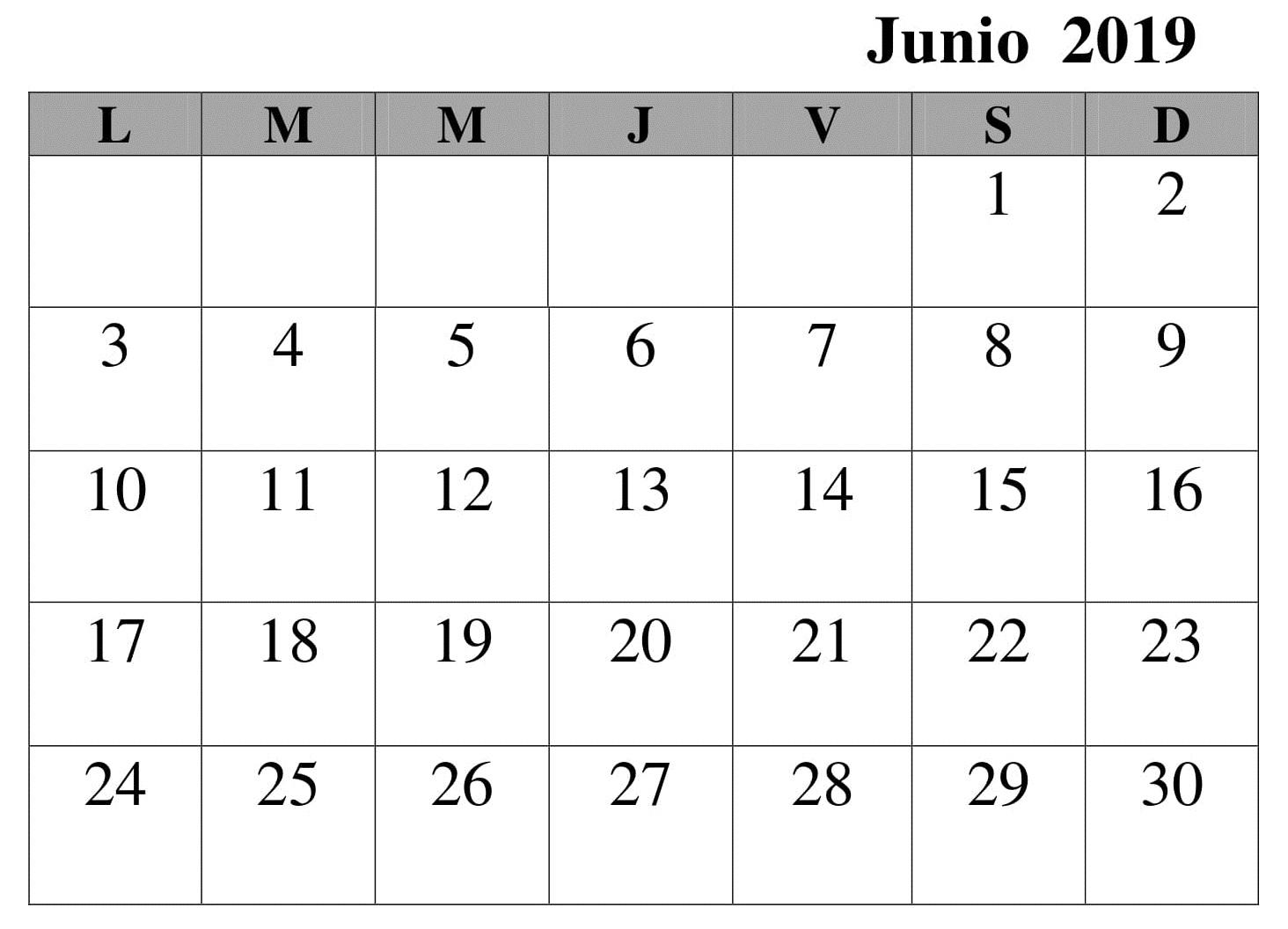 Junio Calendario Mes 2019 Para Imprimir