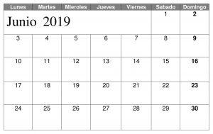 Junio Calendario Titulo 2019