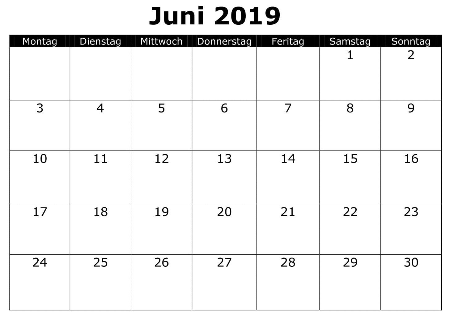 Kalender 2019 Juni PDF