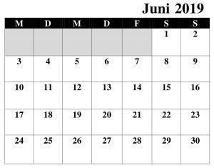 Kalender 2019 Juni Word