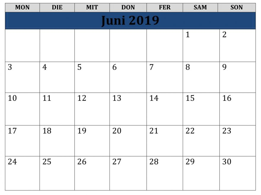 Kalender Juni 2019 Feiertage