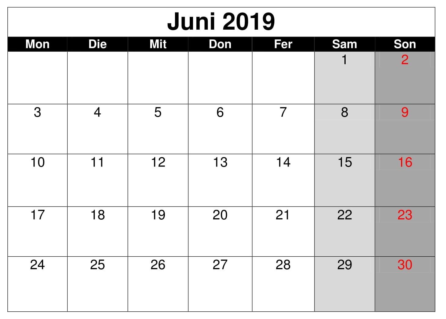 Kalender Juni 2019 Stile Zum Ausdrucken