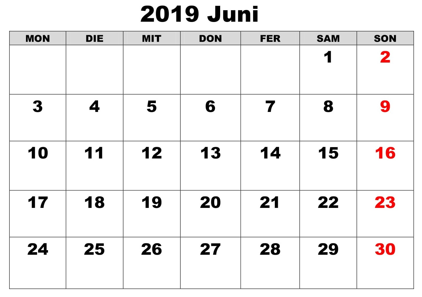 Kalender Juni Bild 2019 Zum Ausdrucken