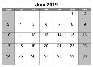 Kalender Juni Leer 2019