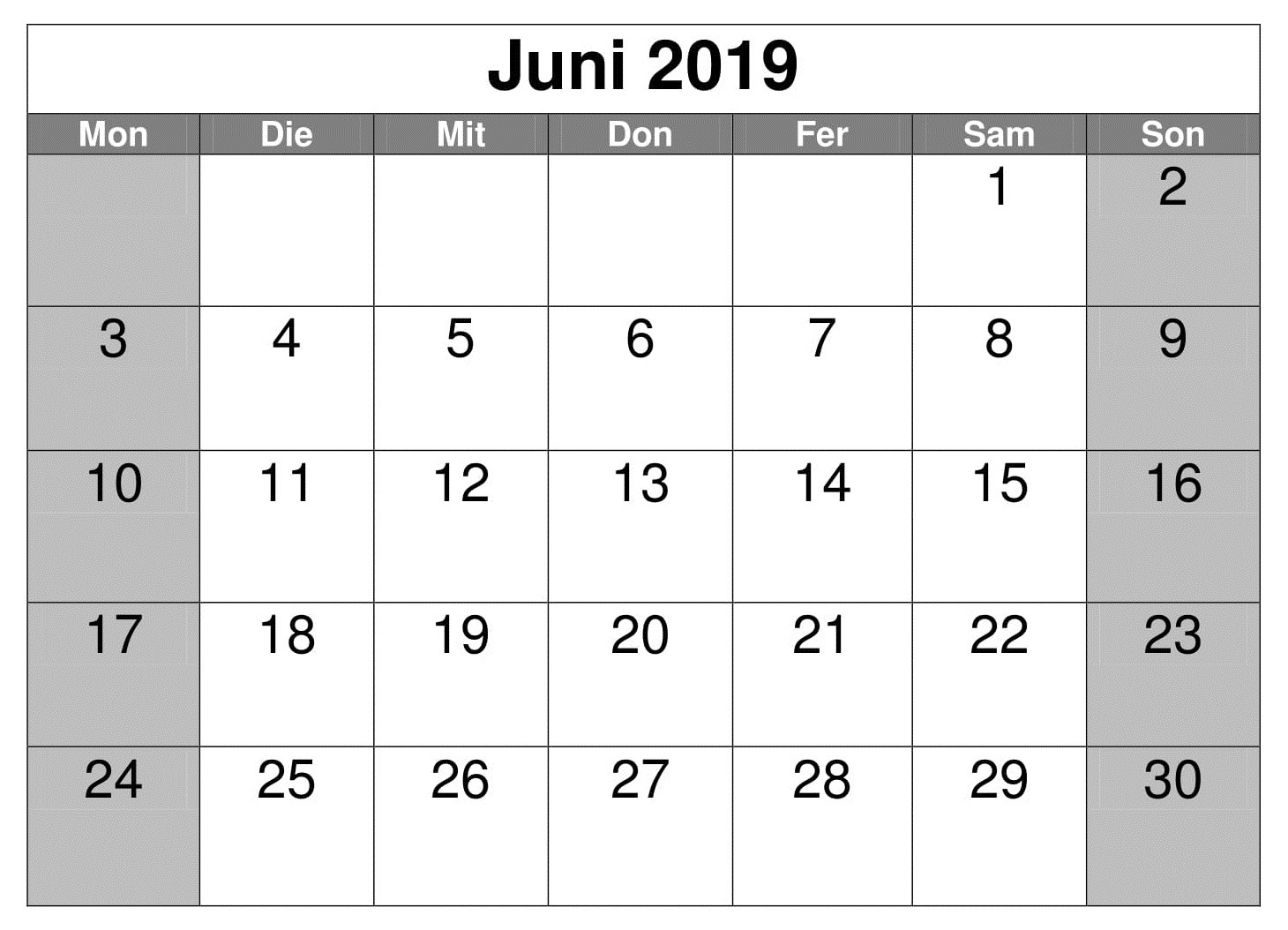 kalender juni 2019 pdf  word  excel