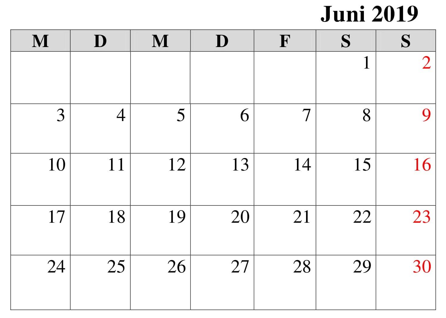 Kalender Juni Notizen 2019 Zum Ausdrucken