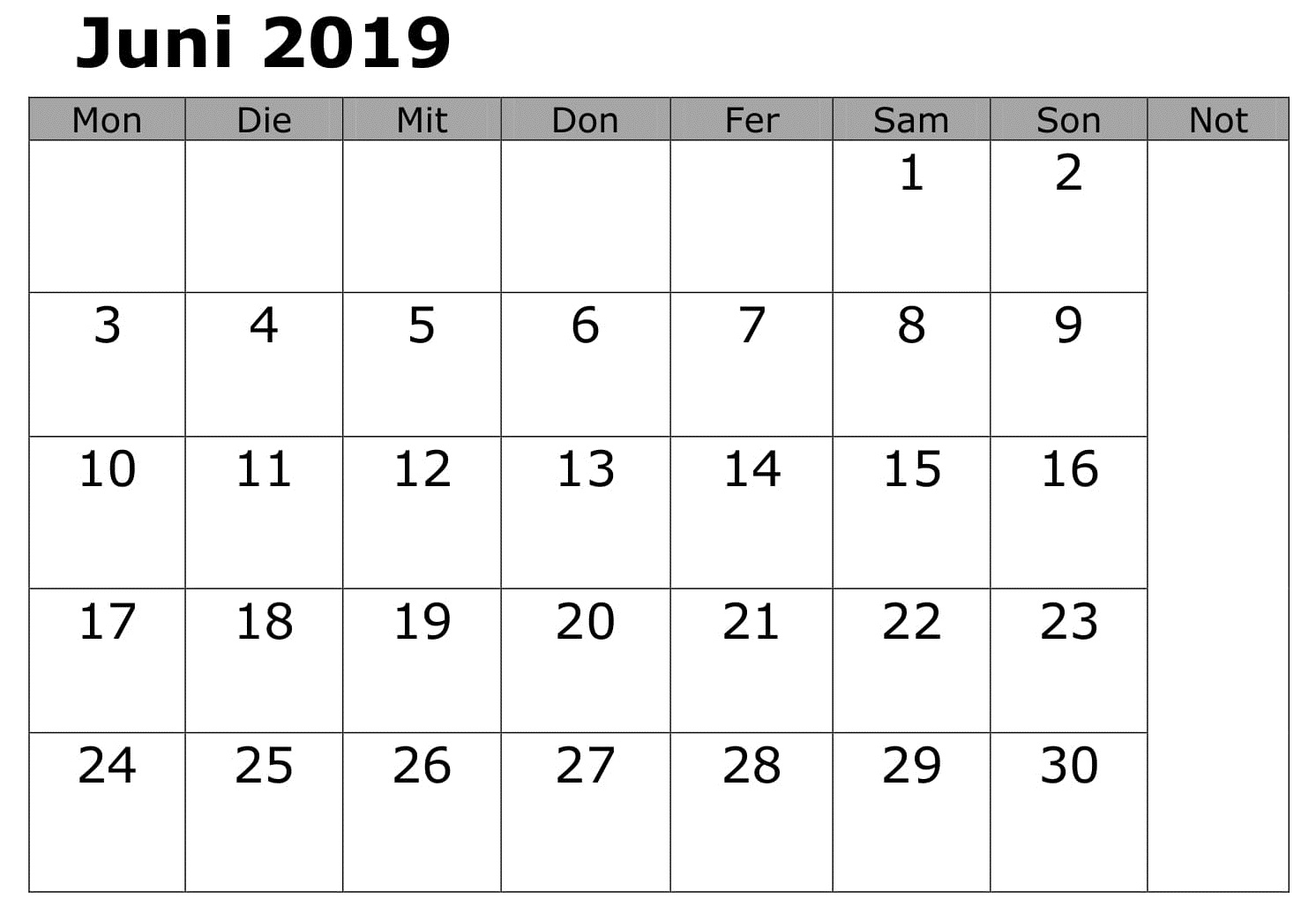 Kalender Juni Notizen 2019