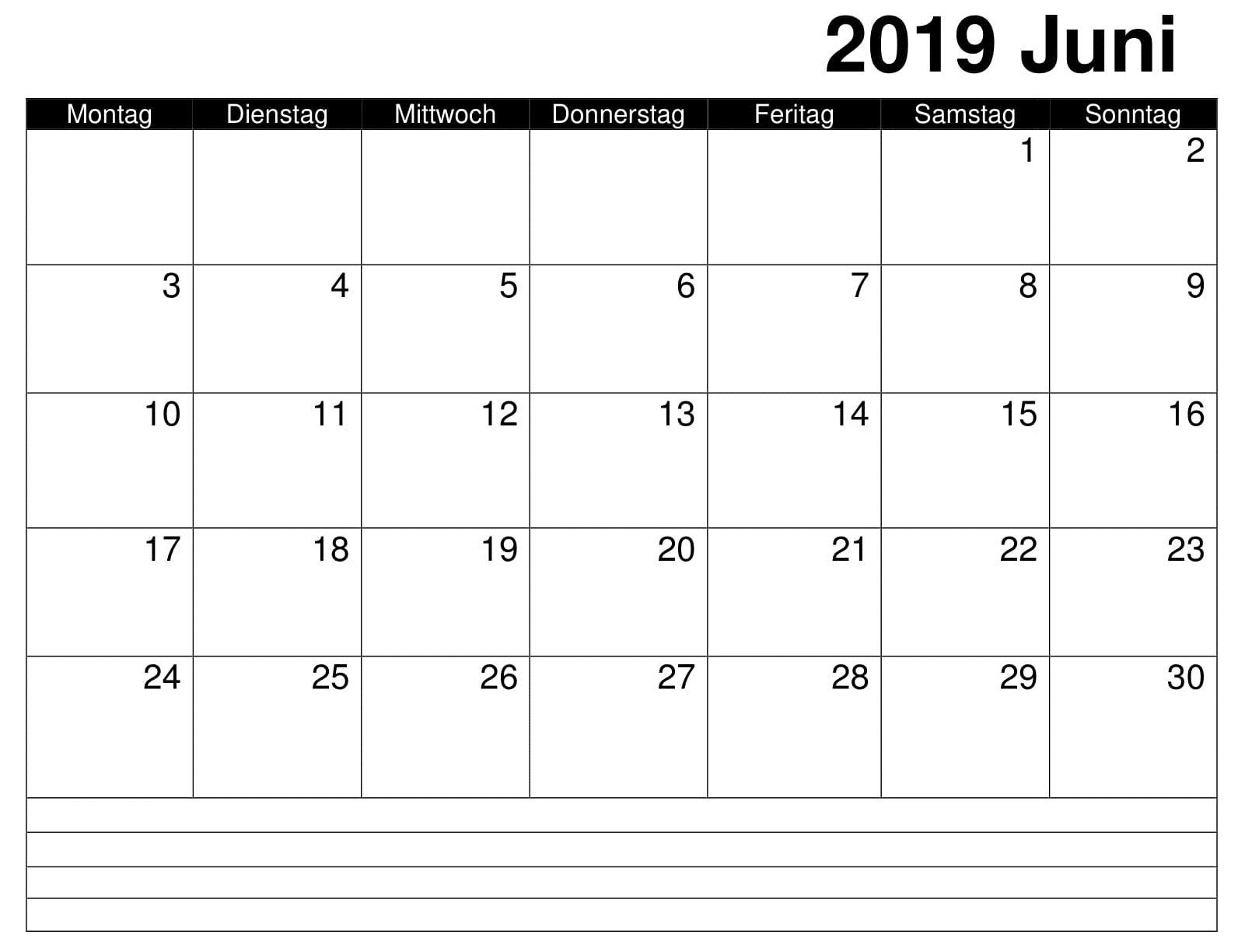 Kalender Juni Zum Ausdrucken 2019 Word