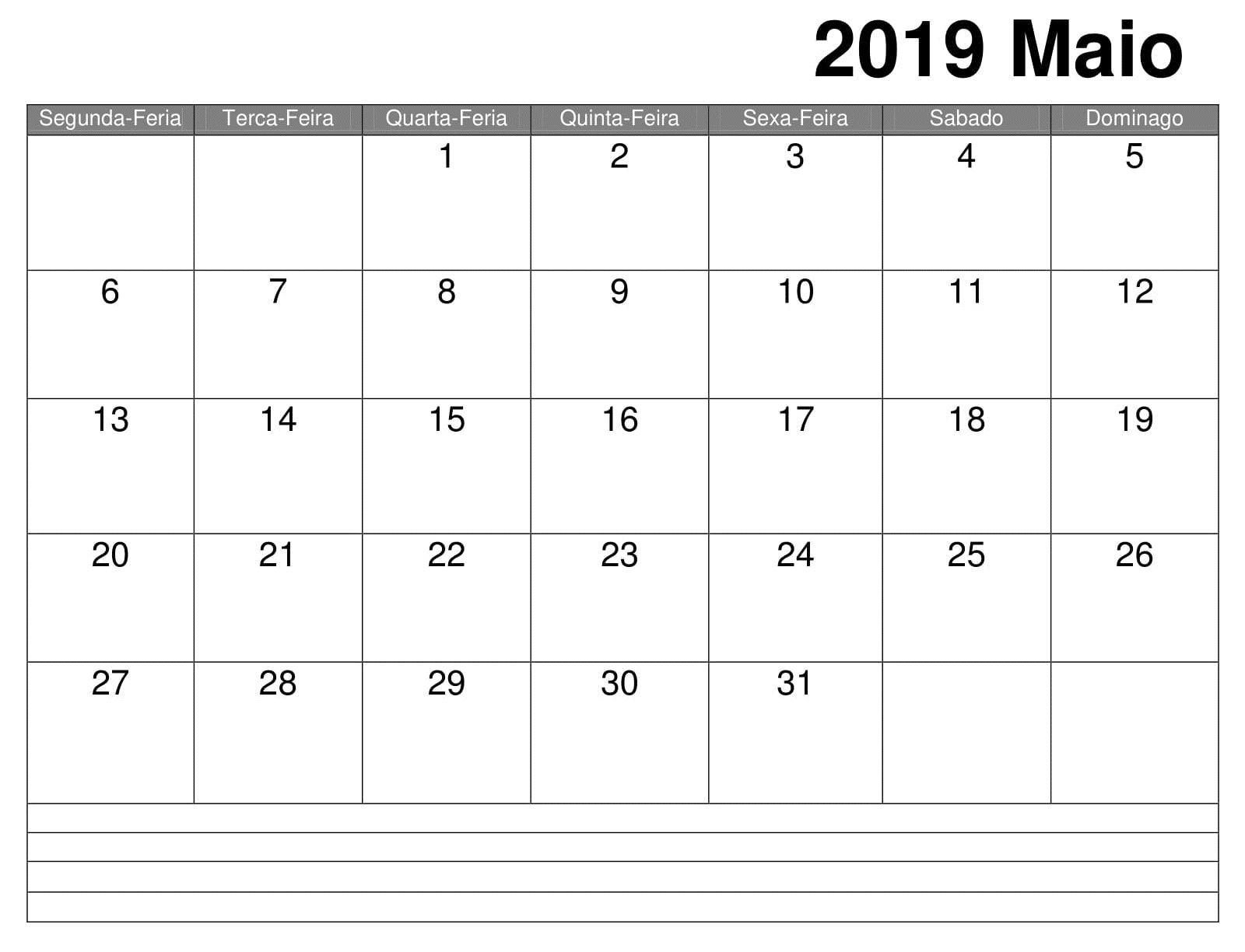 Livre Calendário 2019 Maio