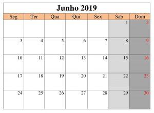 Livre Calendário Junho 2019
