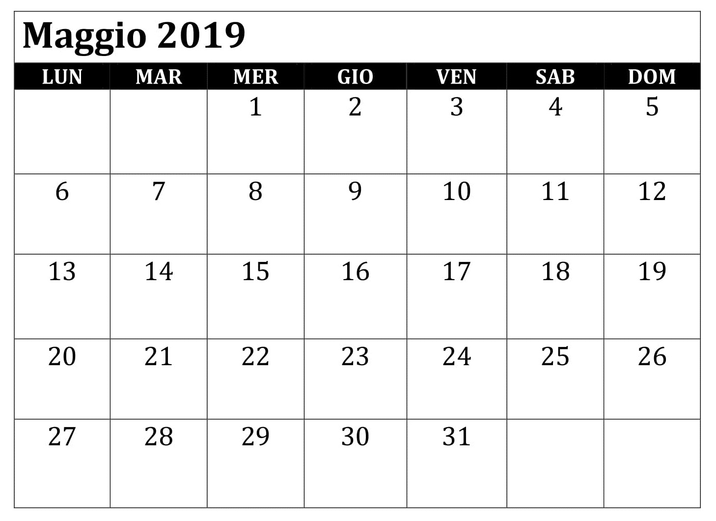 Maggio Calendario 2019 PDF
