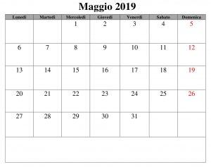 Maggio Calendario Documento 2019 PDF