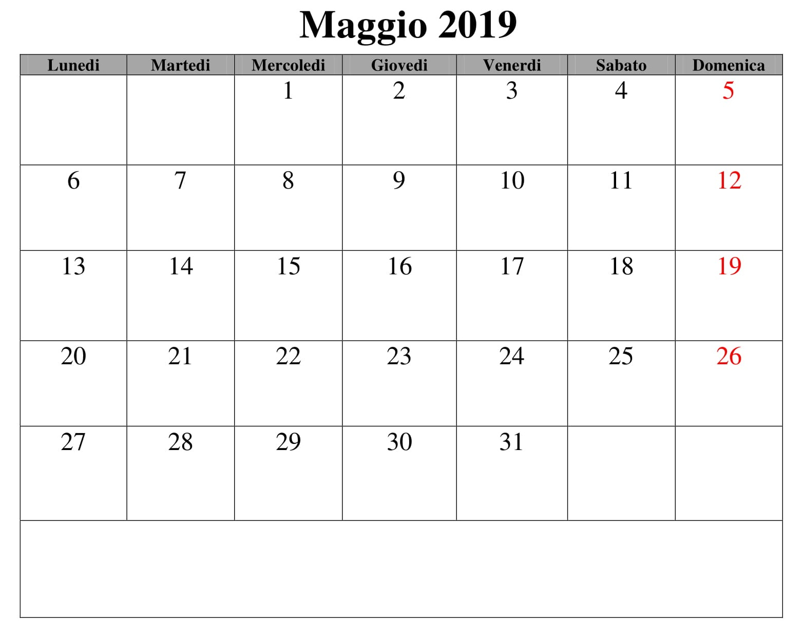 Maggio Calendario Documento 2019 PDF