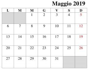 Maggio Calendario Formato 2019 PDF