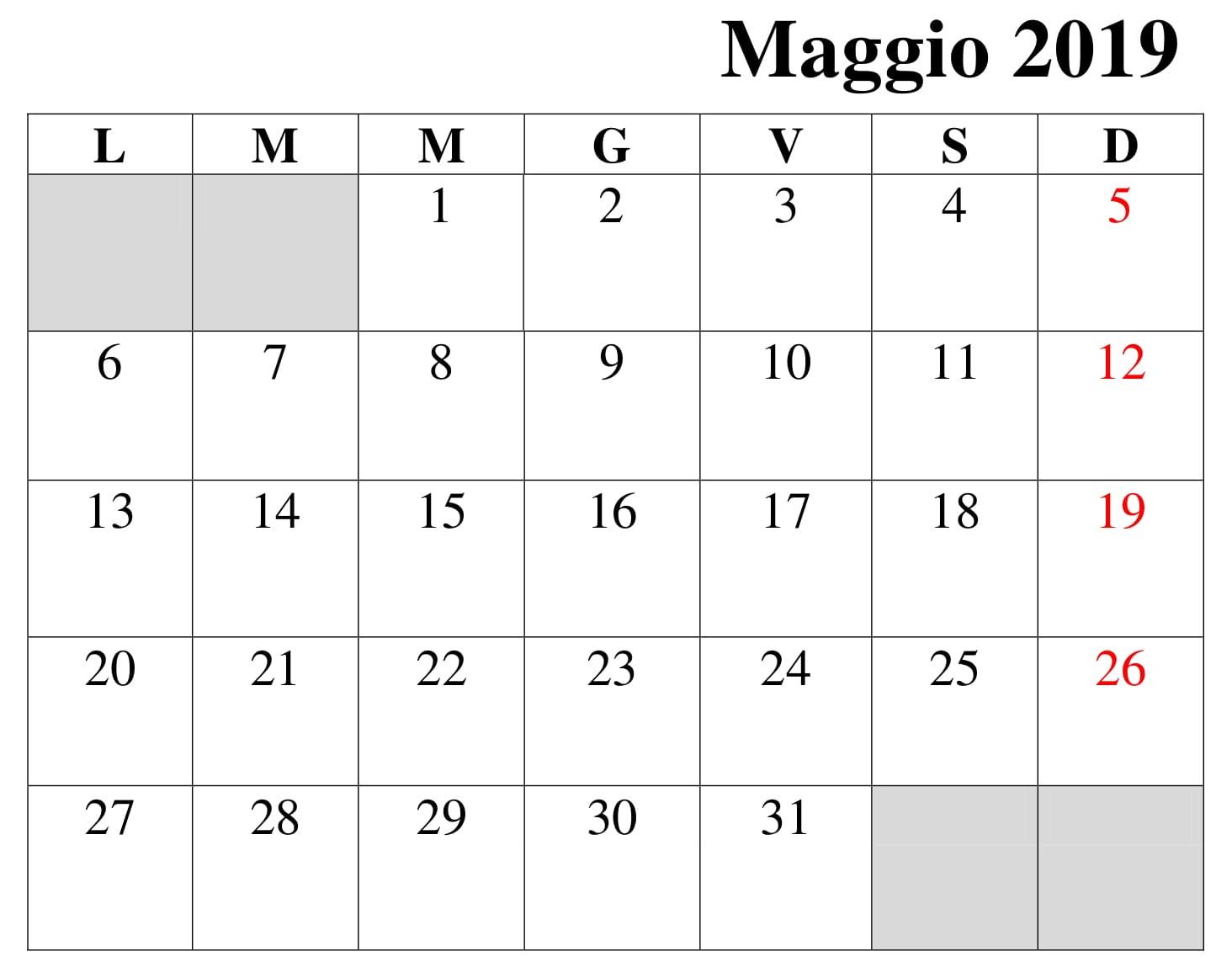 gratuito calendario maggio 2019 pdf
