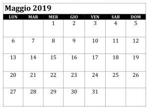 Maggio Calendario Modificabile 2019 PDF