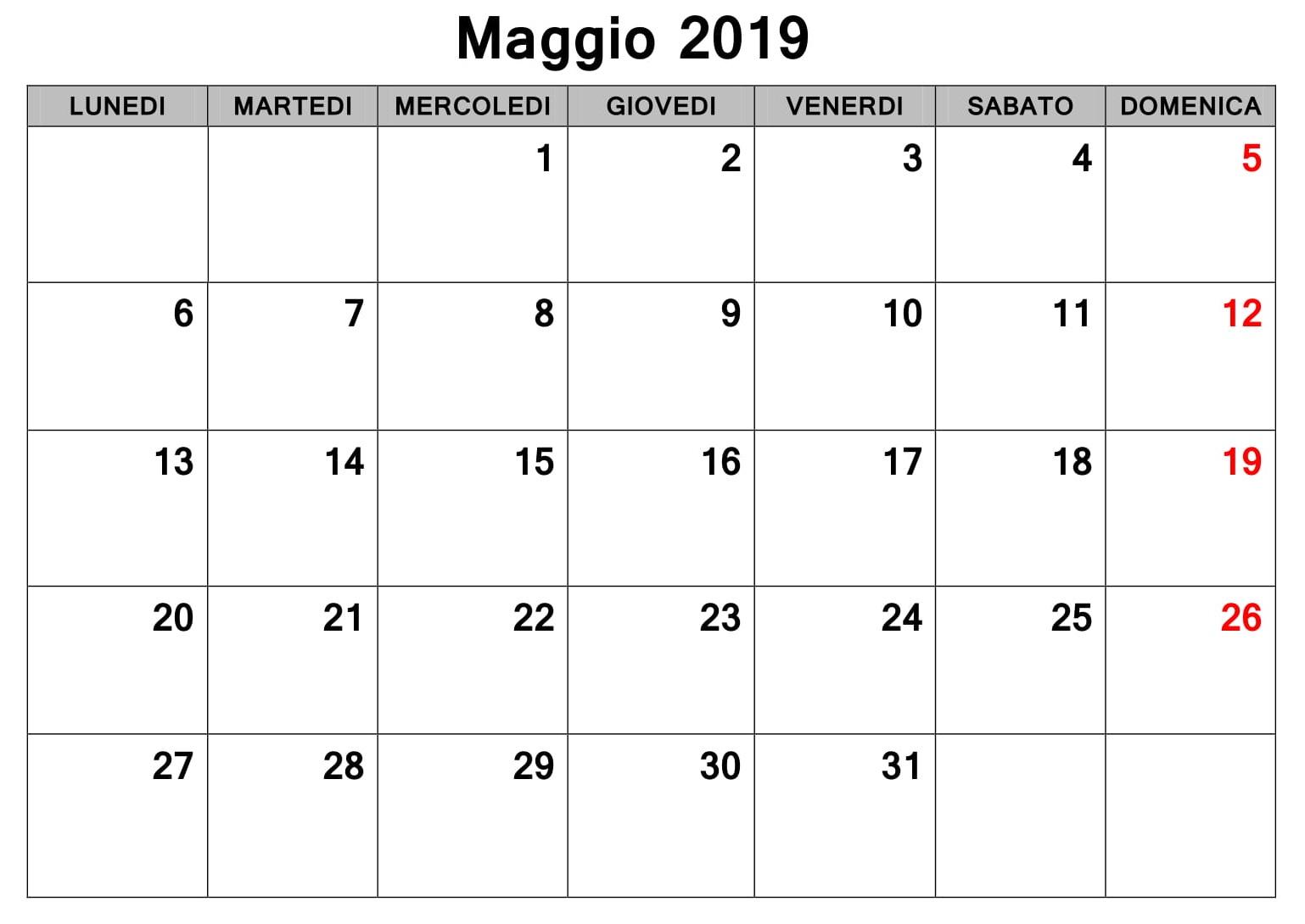 Maggio Calendario Tavolo 2019 PDF