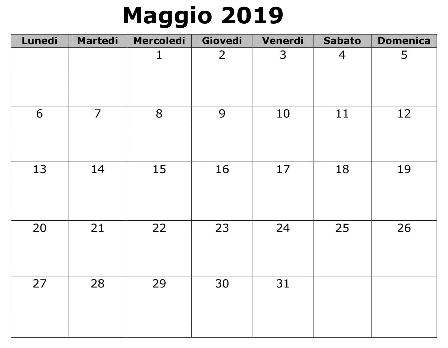 Maggio Gratuito Calendario 2019 PDF