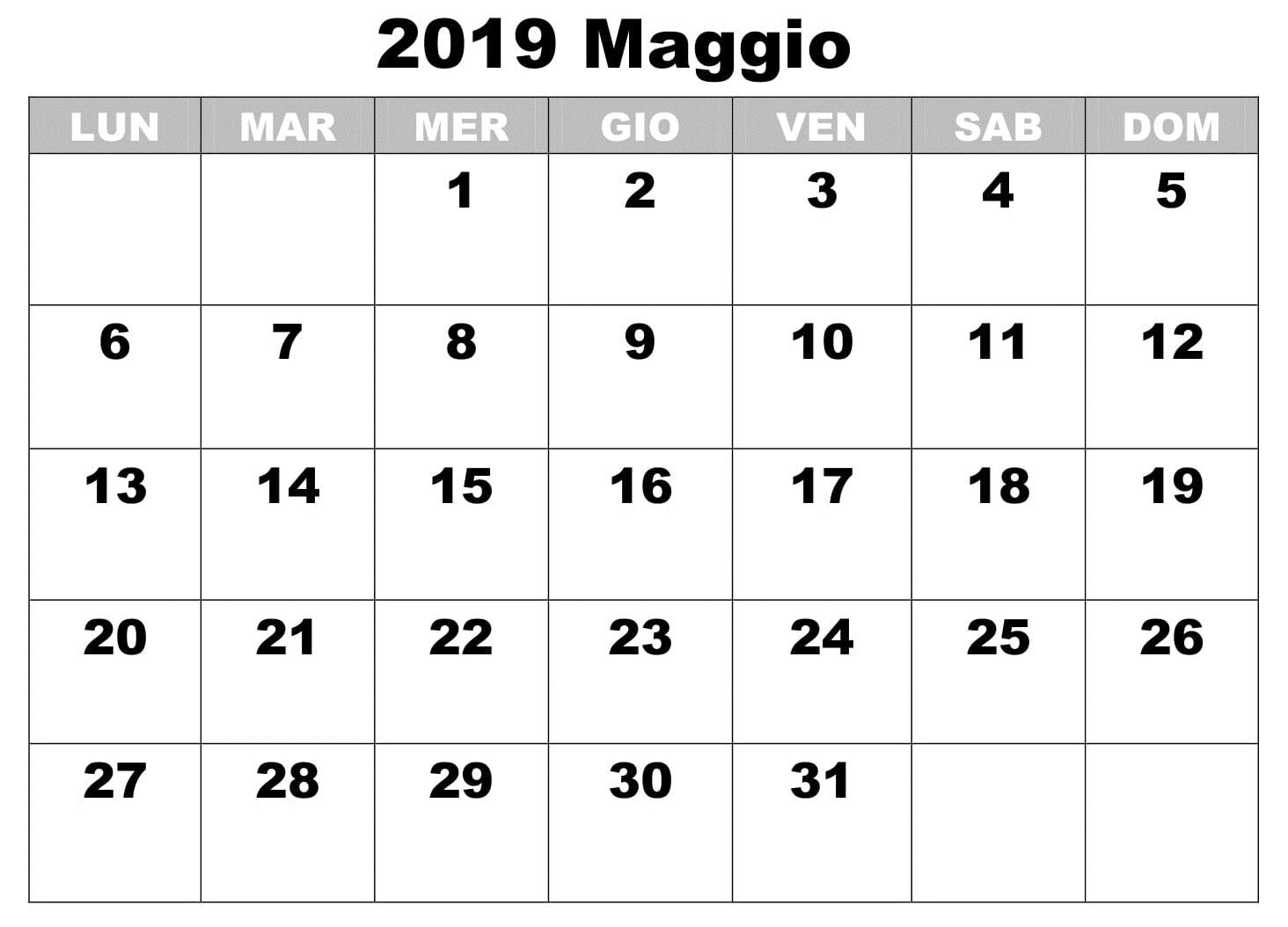 Maggio GratuitoCalendario 2019