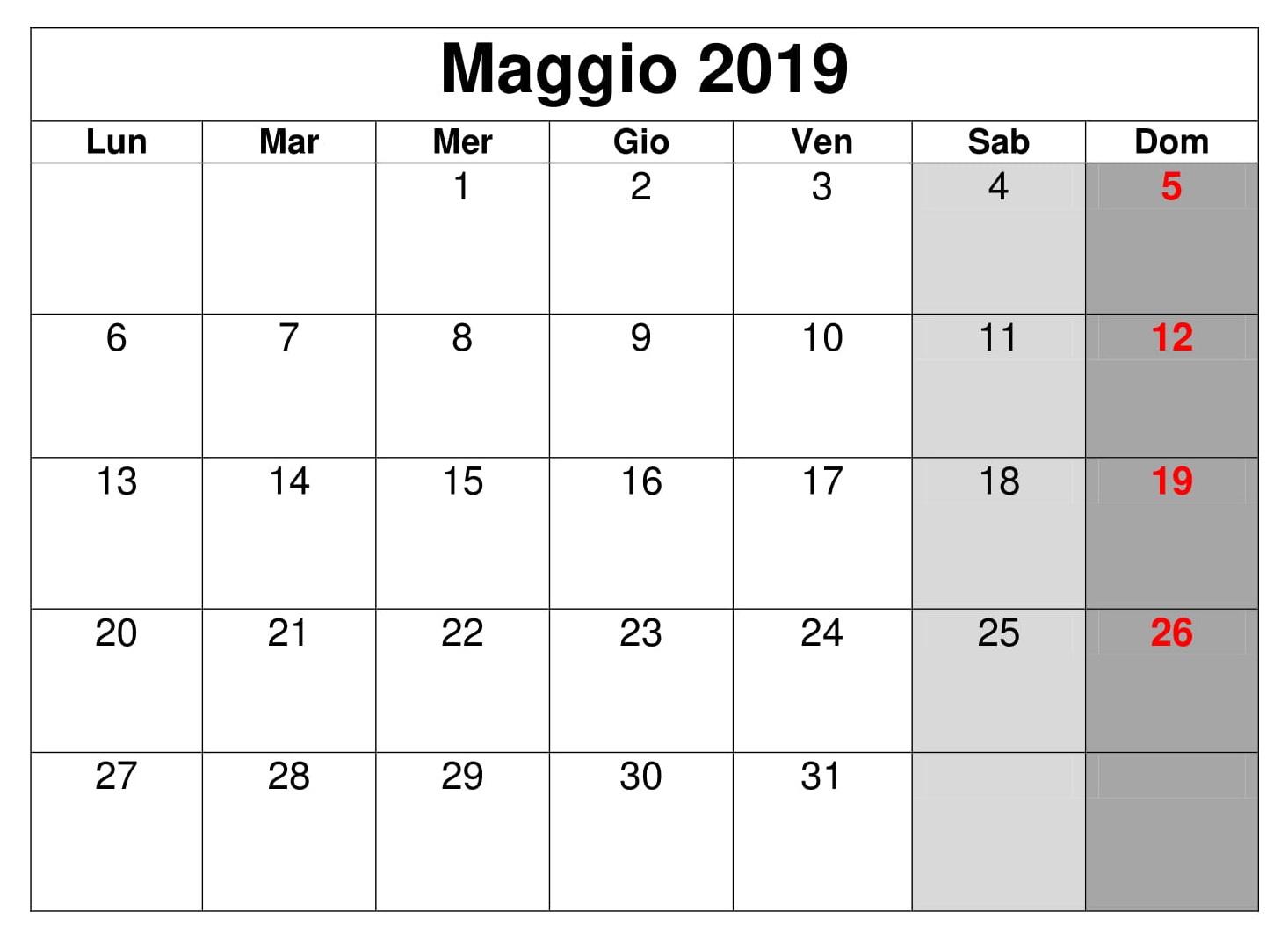 Maggio Titolo Calendario 2019