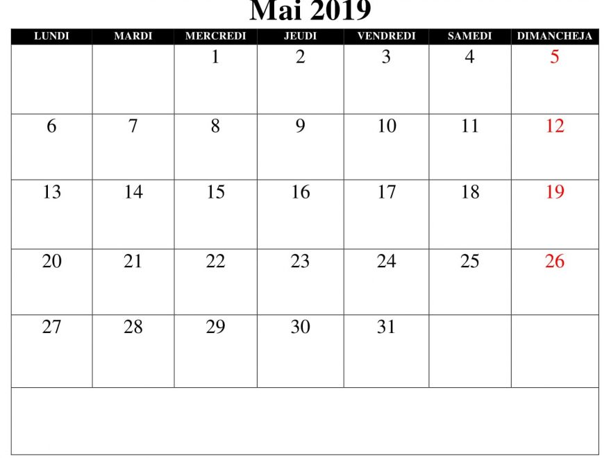 Mai Calendrier 2019 Excel