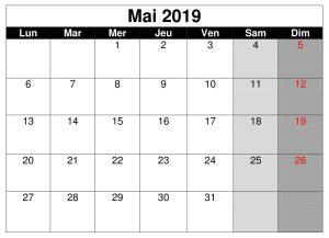 Mai Calendrier 2019 Word