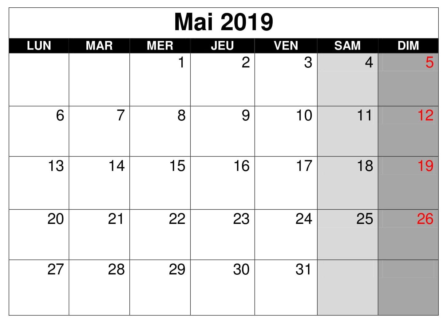 Mai Calendrier Blanc 2019 PDF