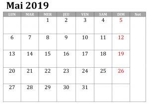 Mai Calendrier Document 2019