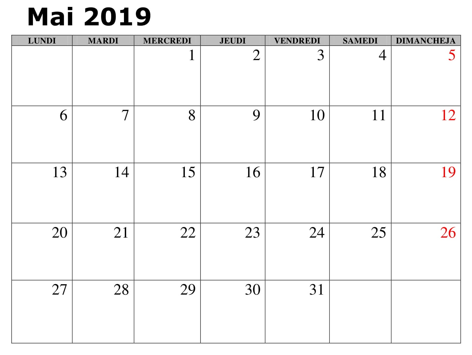Mai Calendrier Document 2019 PDF