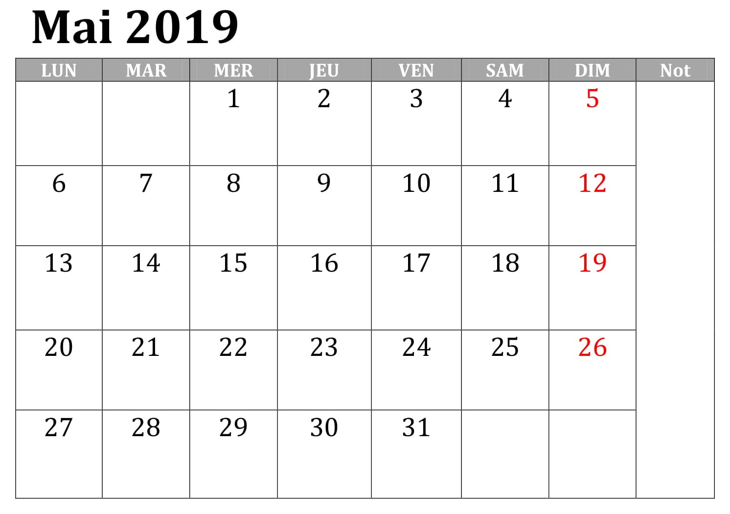 Mai Calendrier Document 2019