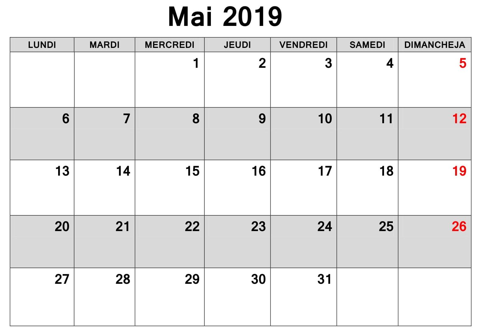 Mai Calendrier Editable 2019 PDF
