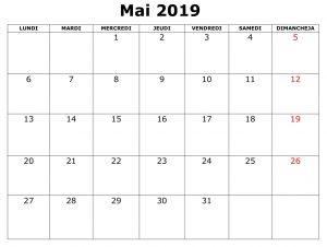 Mai Calendrier Mensuel 2019