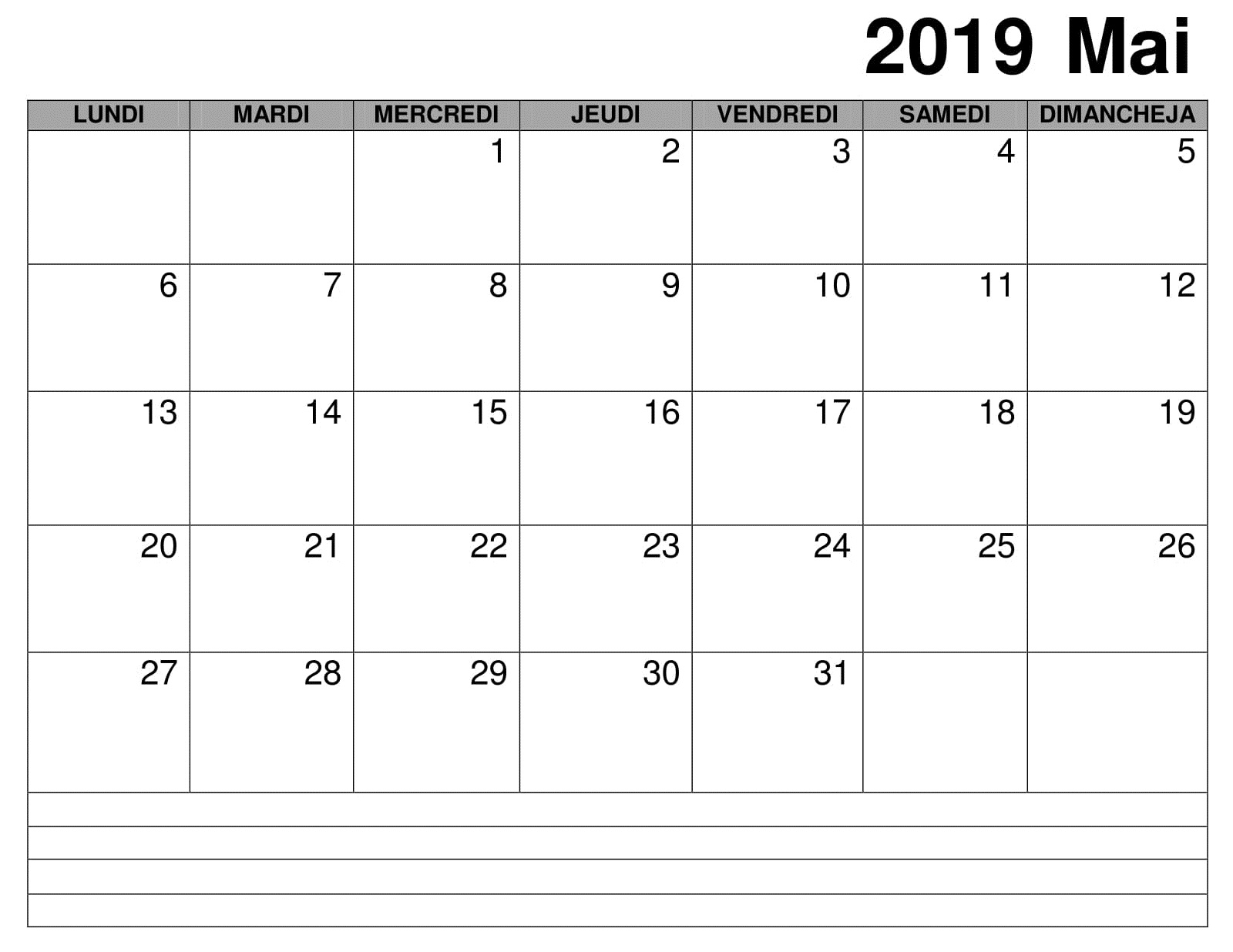 Mai Calendrier Mensuel 2019 PDF
