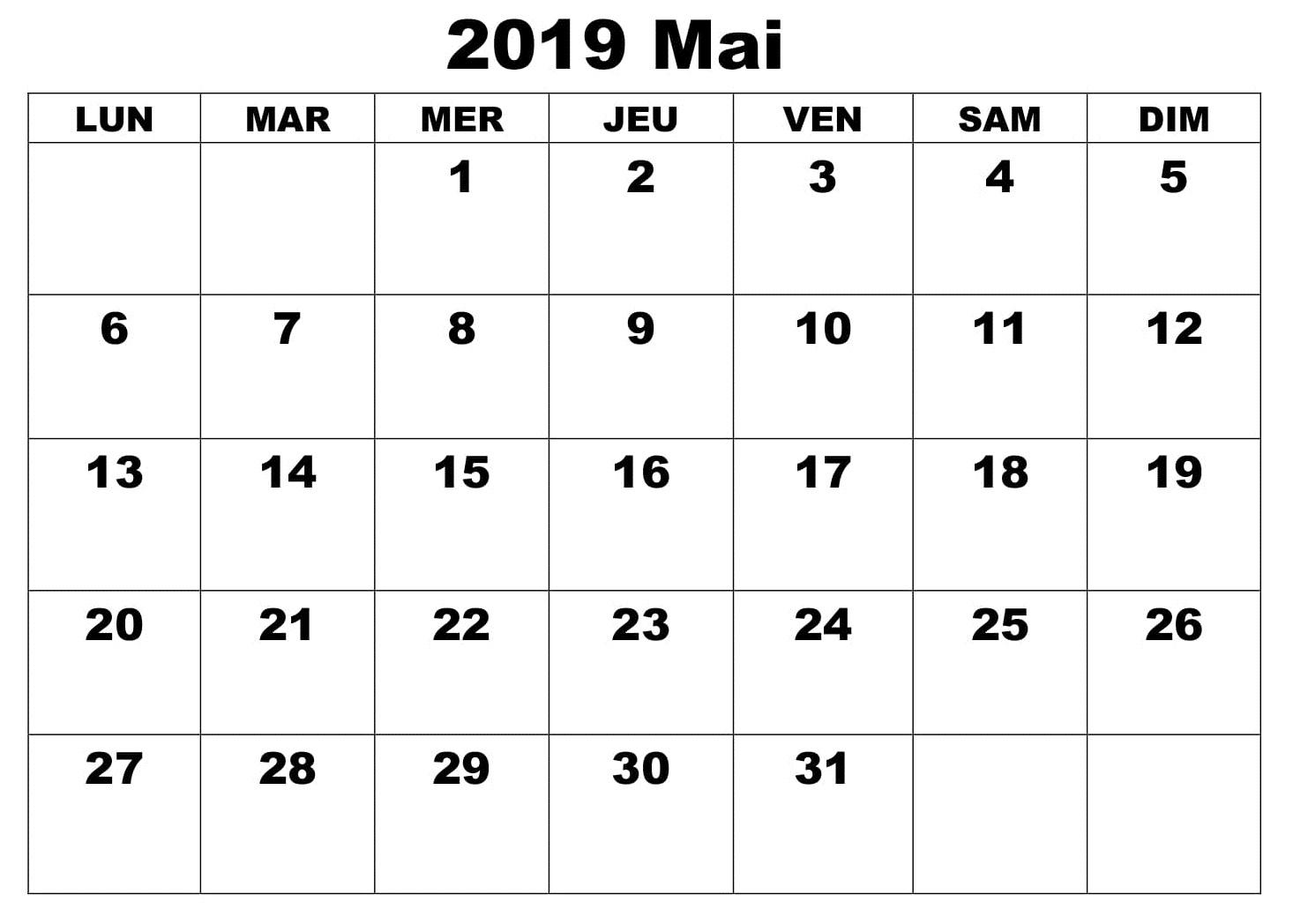 Mai Calendrier Mois 2019 PDF