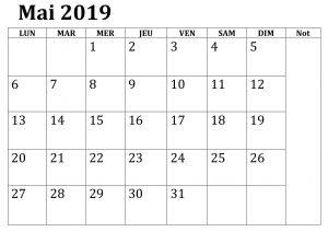 Mai Calendrier Table 2019 PDF