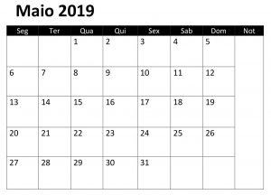 Maio Calendário 2019 Excel