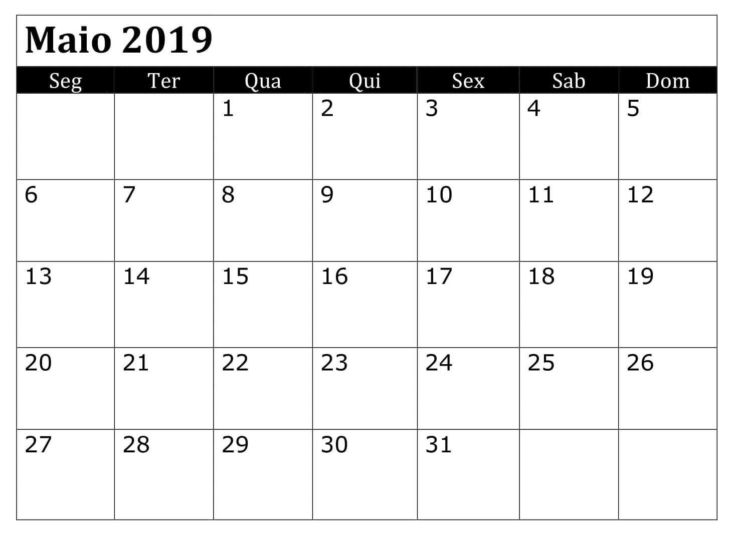 Maio Calendário 2019 PDF