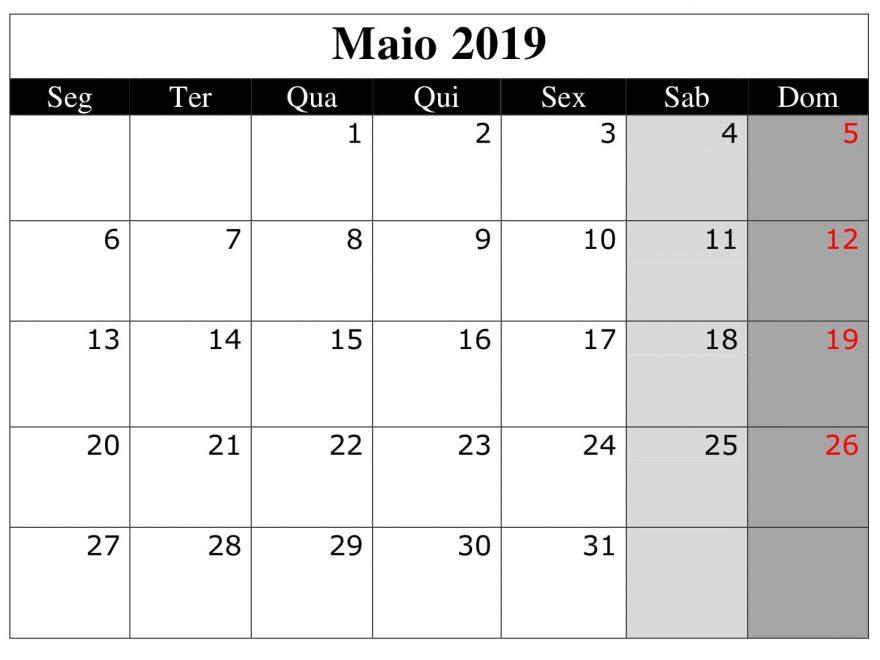 Maio Calendário 2019 Word
