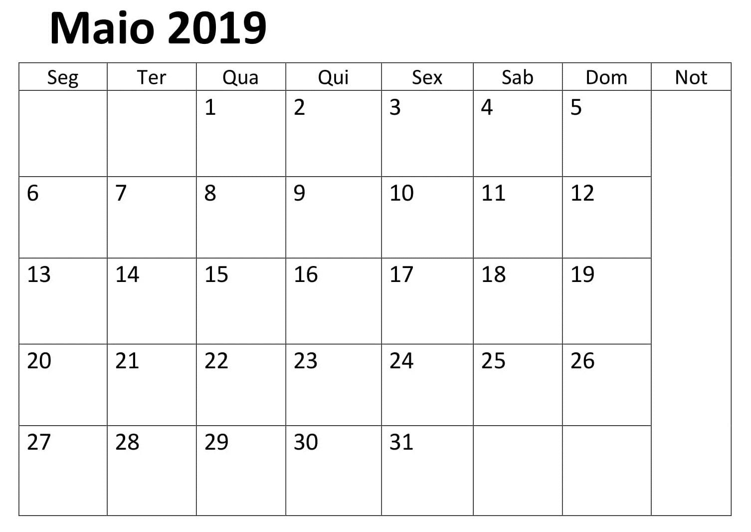 Maio Calendário Feriados 2019