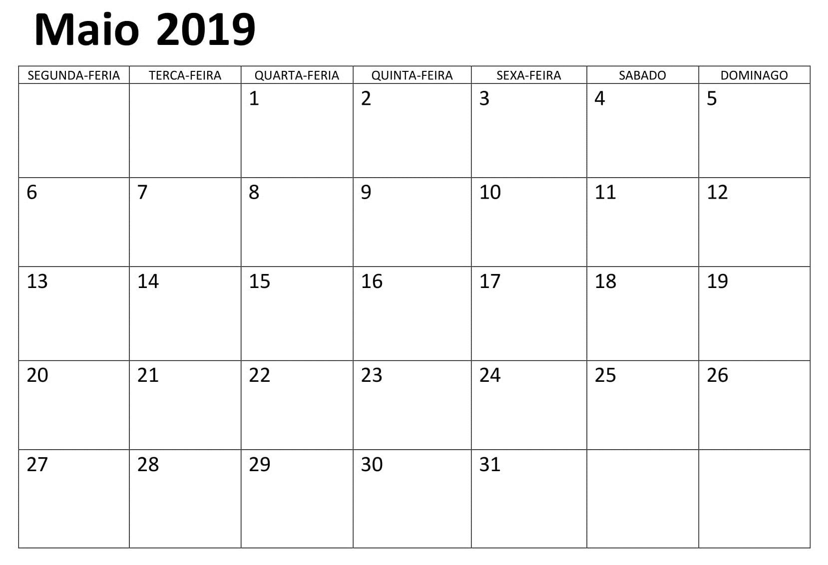 Maio Calendário Vertical 2019