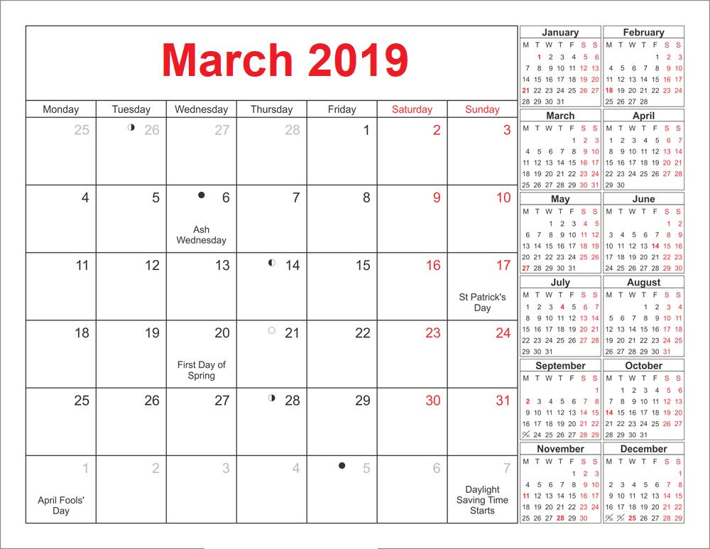 March 2019 Calendar Canada