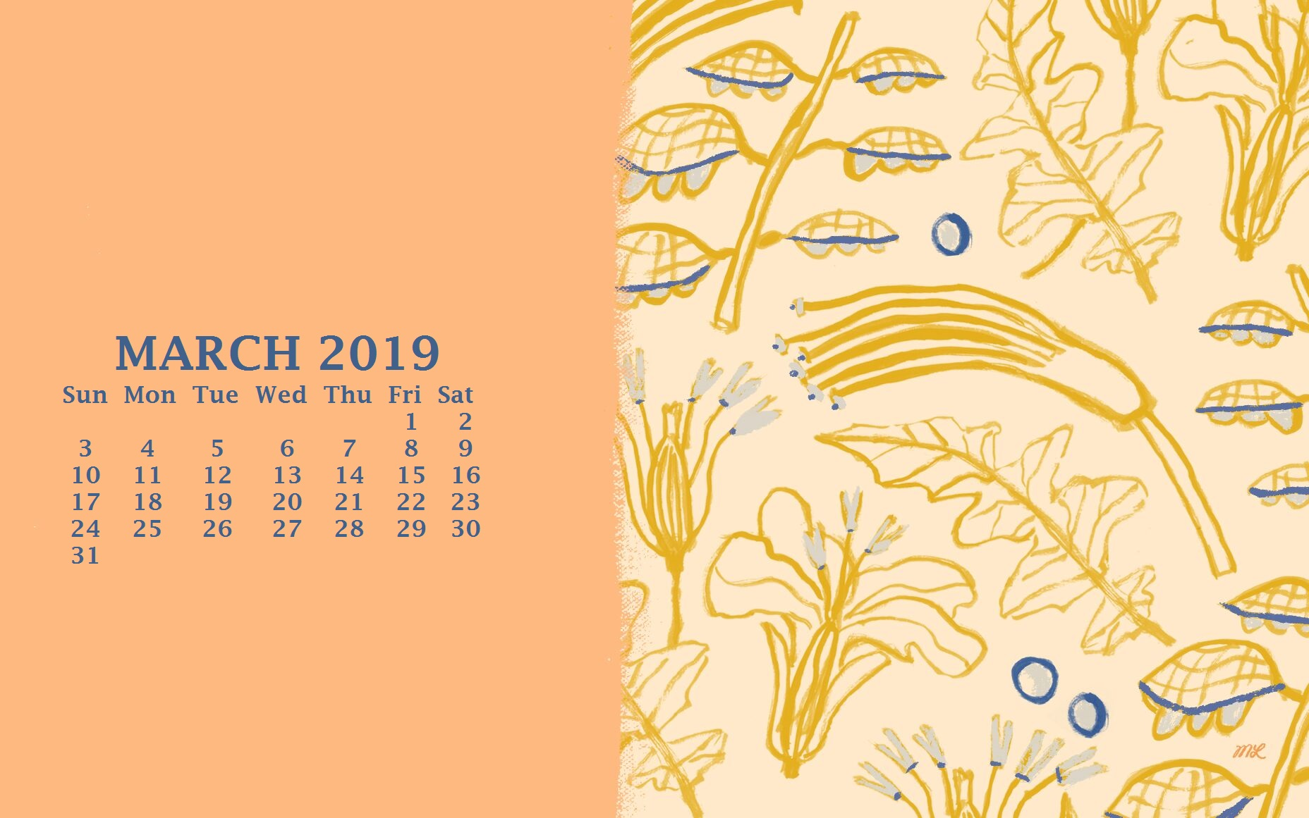 March 2019 Calendar For Desktop Background