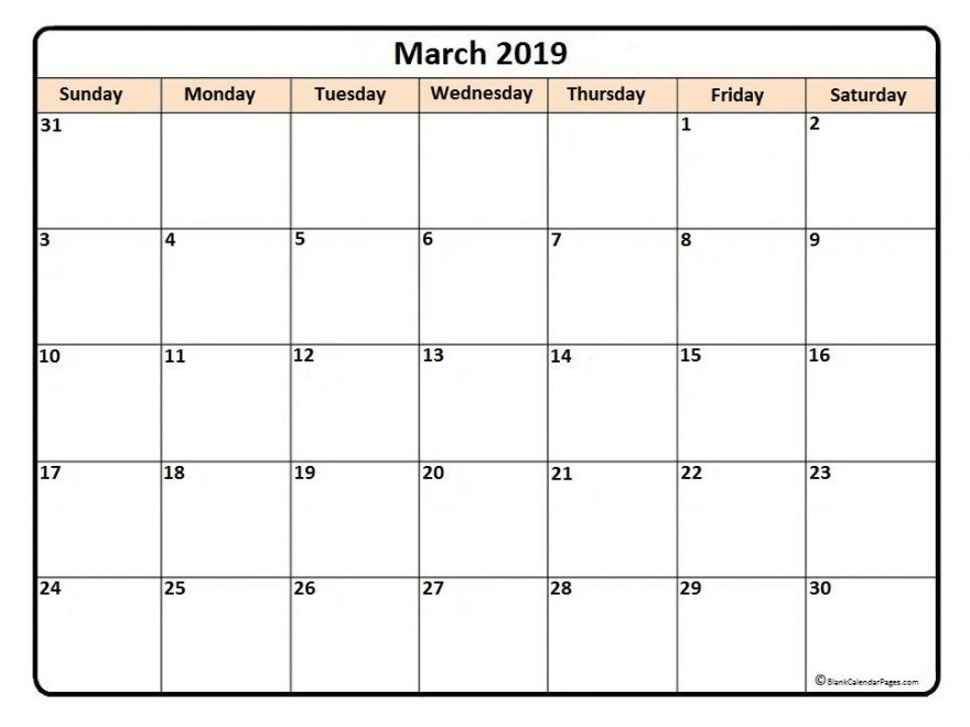 March 2019 Calendar Templates