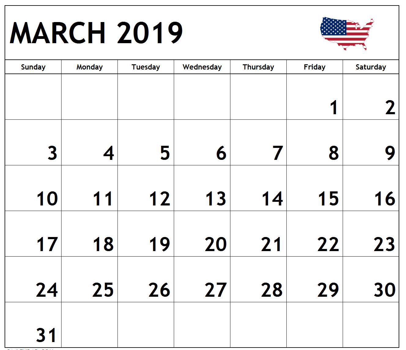 March 2019 Calendar USA Printable
