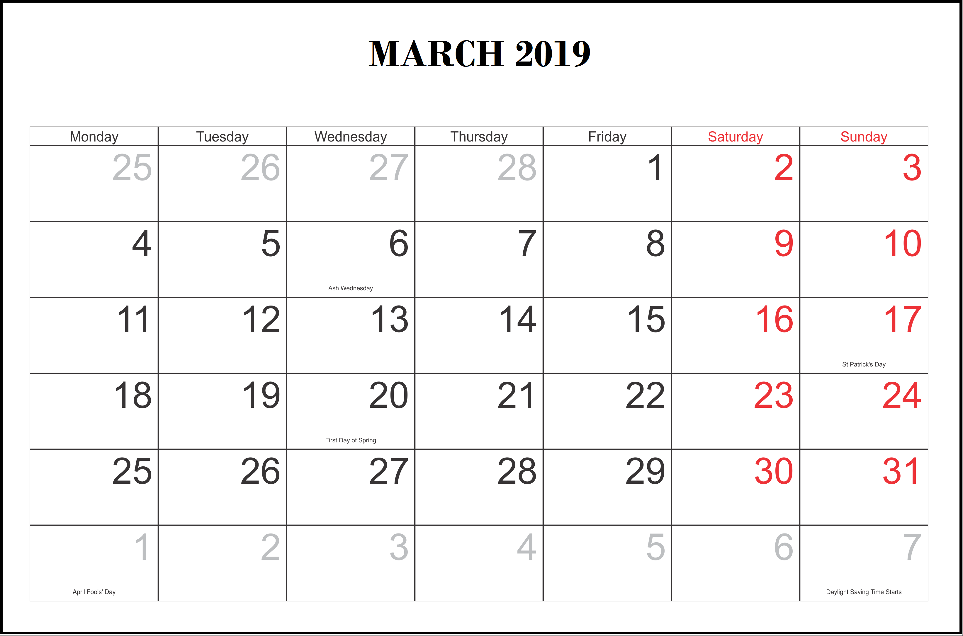 March 2019 Calendar USA With Holidays