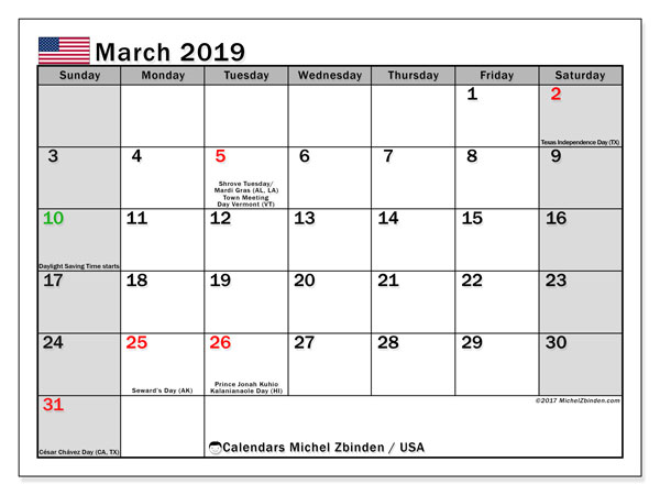 March 2019 Calendar USA