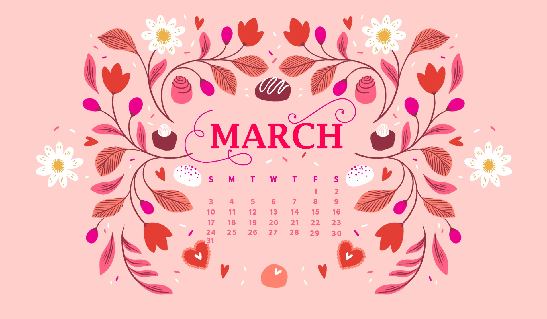 March 2019 Cute Calendar With Wallpaper