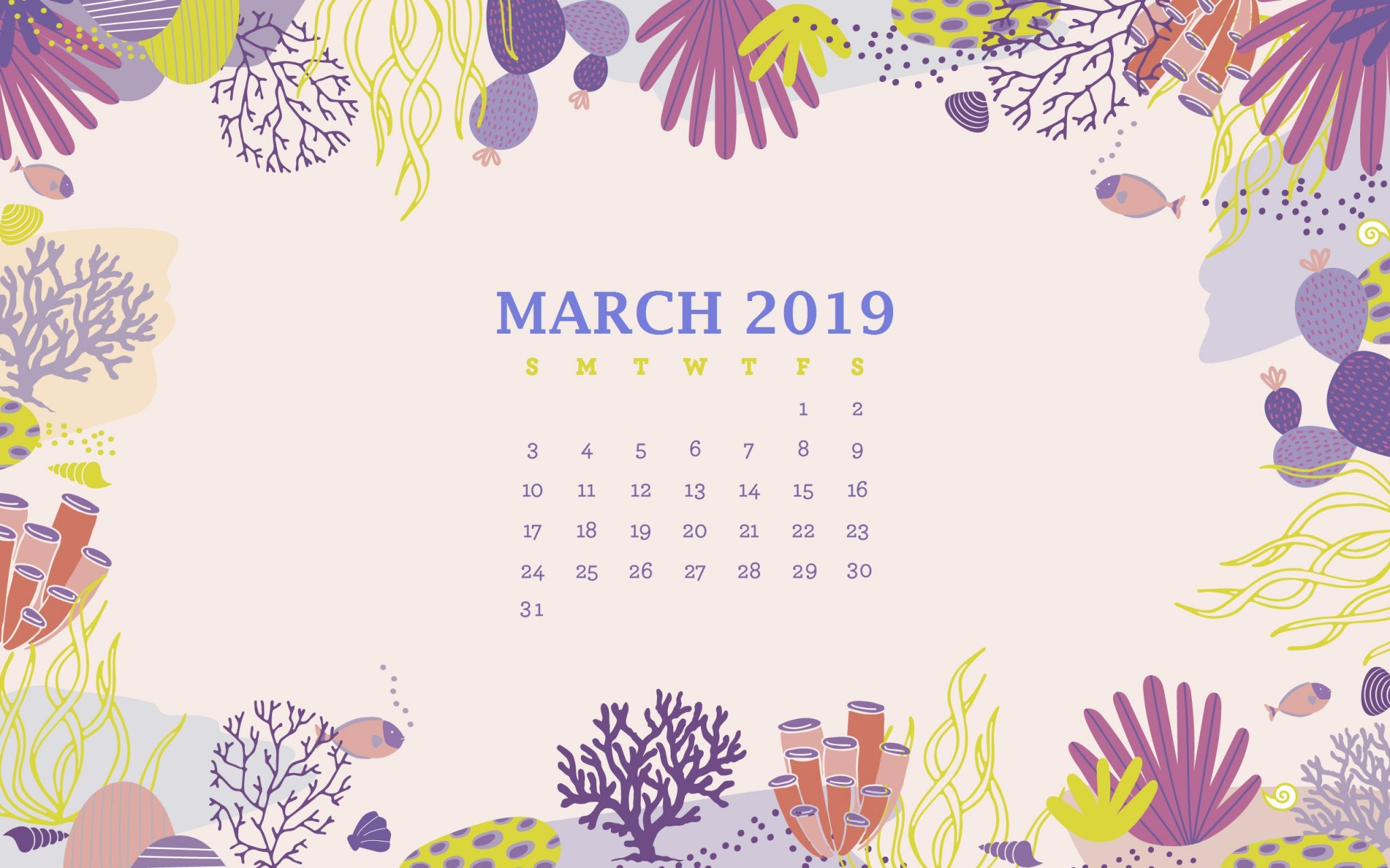 March 2019 Desktop Calendar Background