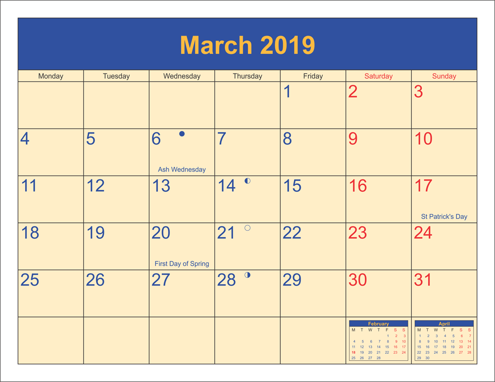 March 2019 Moon Phases Calendar